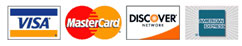 Accepted Credit Cards - Mastercard, Visa, Discover, American Express